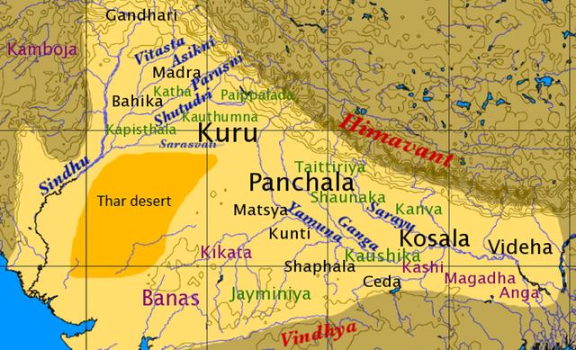 Карта царств древней Индии