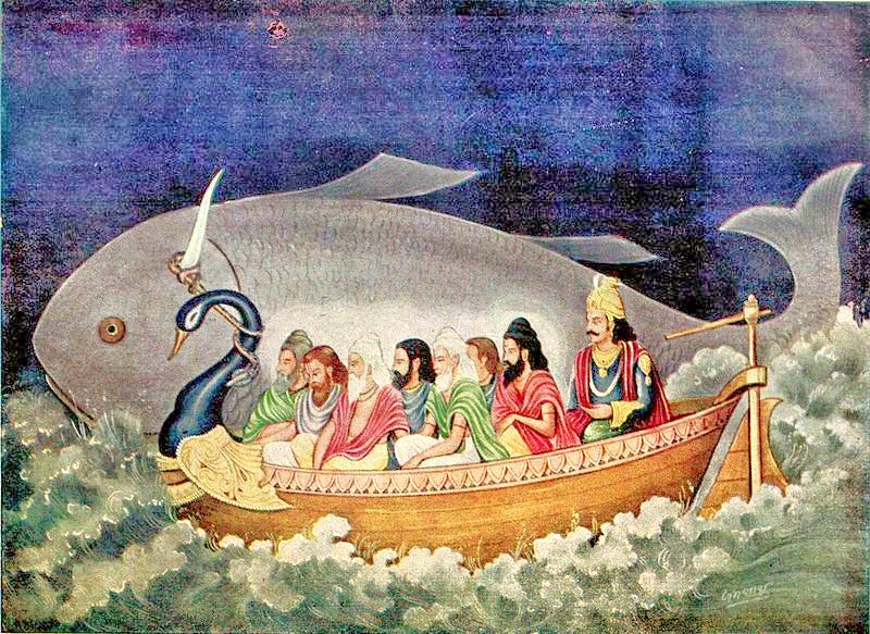 Матсья Аватара спасает Саптариши и Ману во время вселенского потопа