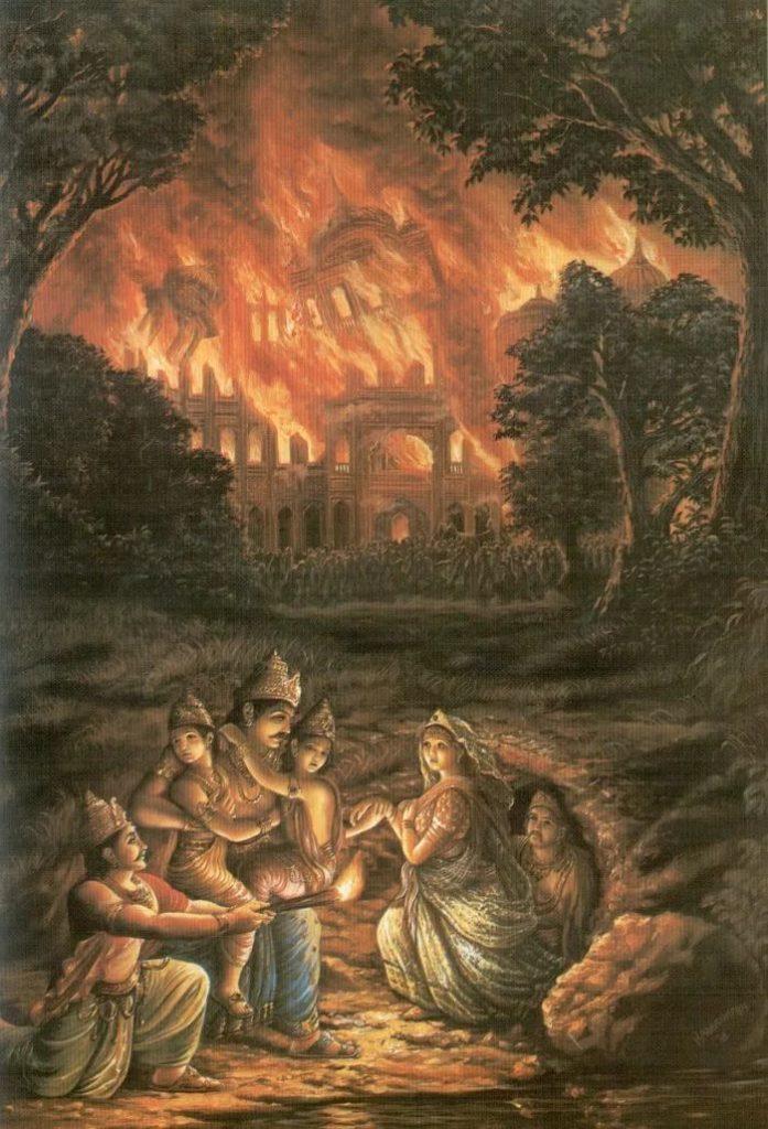 Махабхарата - Пандавы спасаются от пожара