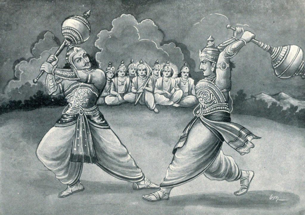 Махабхарата - Бхима сражается с Дурьодханой на палицах