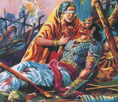 Махабхарата - Гандхари оплакивает погибших сыновей