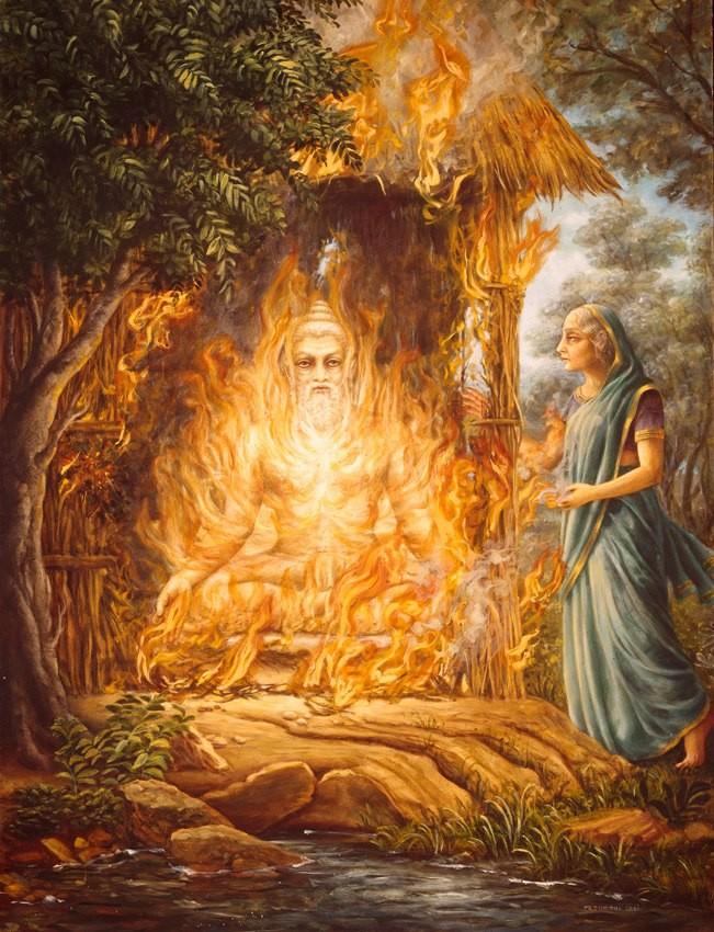 Махабхарата - Дхритараштра сгорает в огне мистической йоги