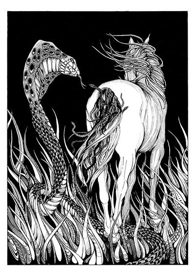 Махабхарата - Змеи вплетаются в хвост коня Уччхайшравы