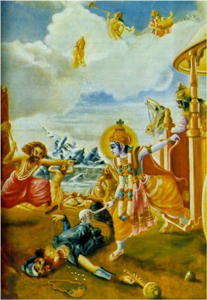 Битва Шри Кришны с демоном Шалвой