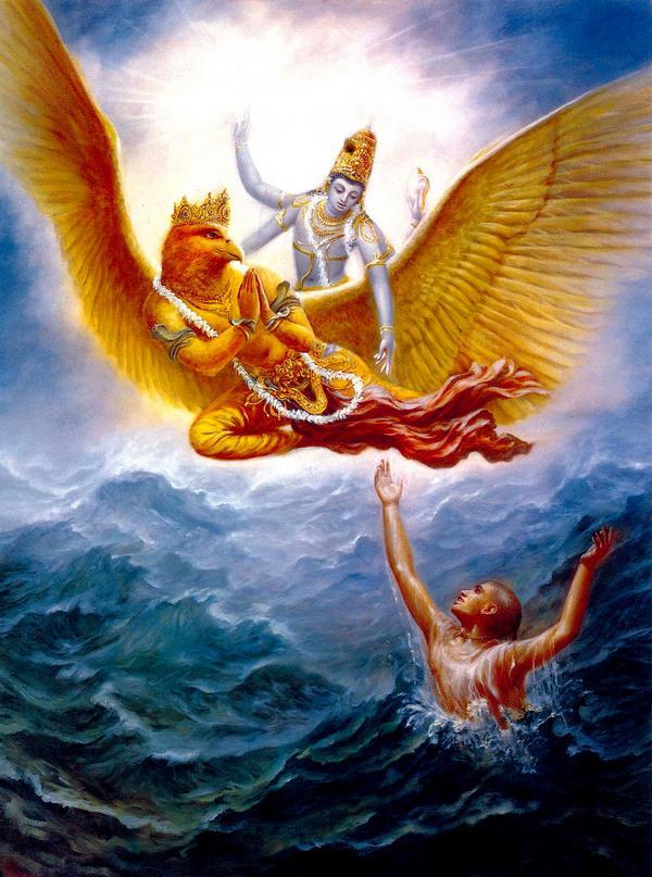Господь Вишну на Гаруде спасает Своих преданных
