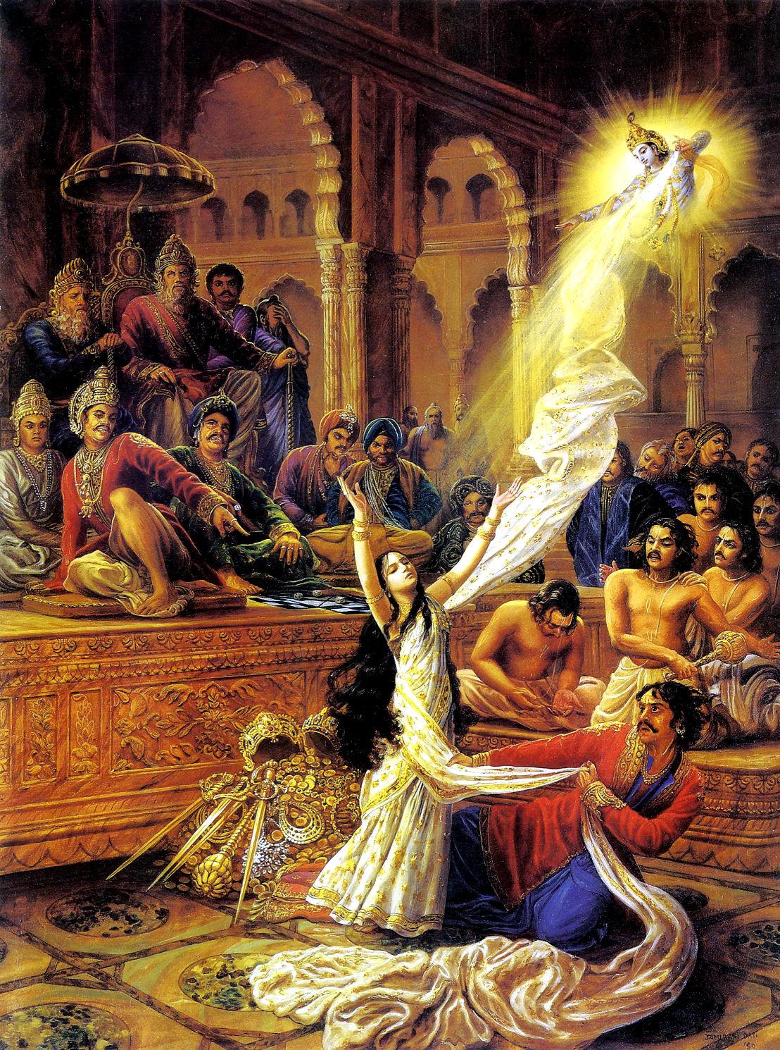 Махабхарата - Кришна спасает честь Драупади