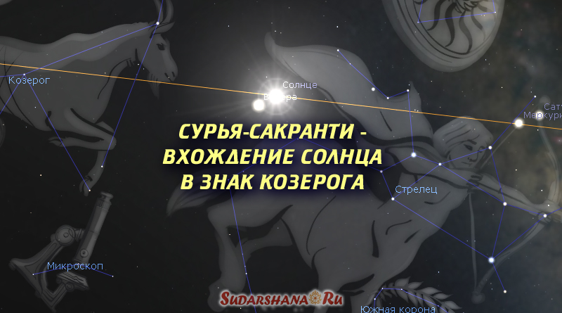 Сурья-сакранти вхождение Солнца в знаке Козерога - звездное небо