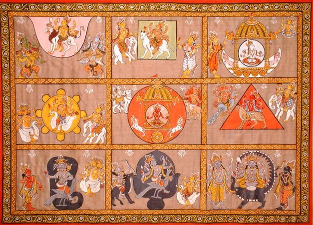 Нава-граха - девять планет -индийский рисунок