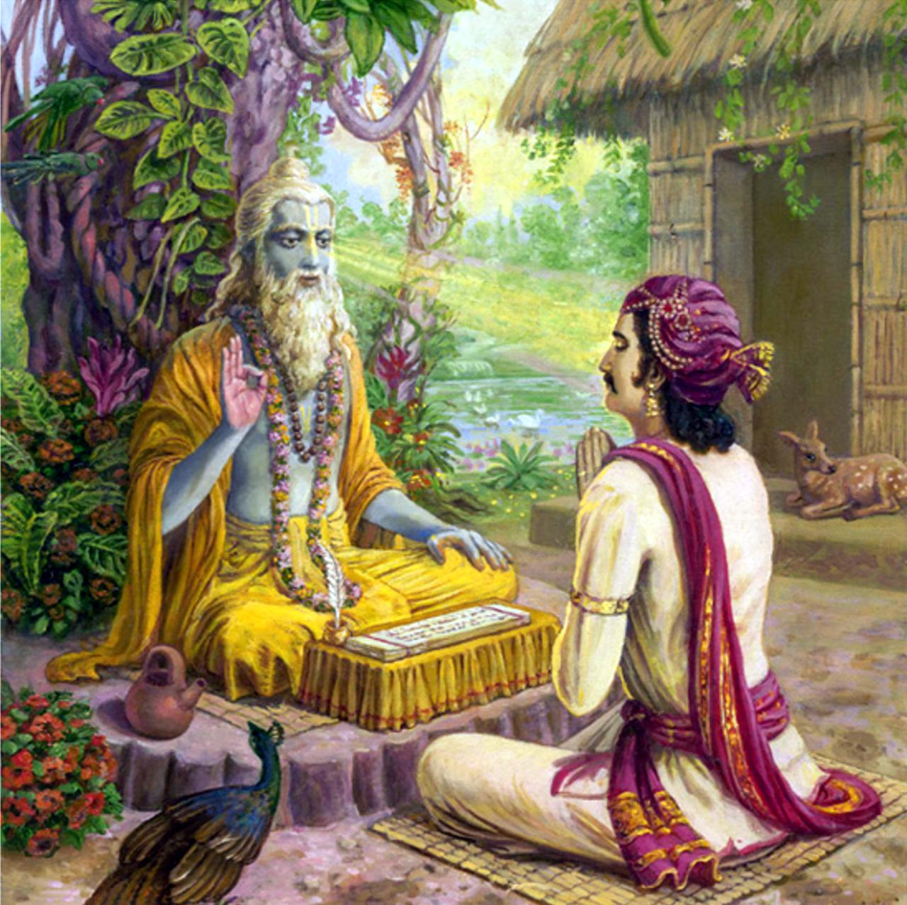 Мудрец - риши благословляет царя