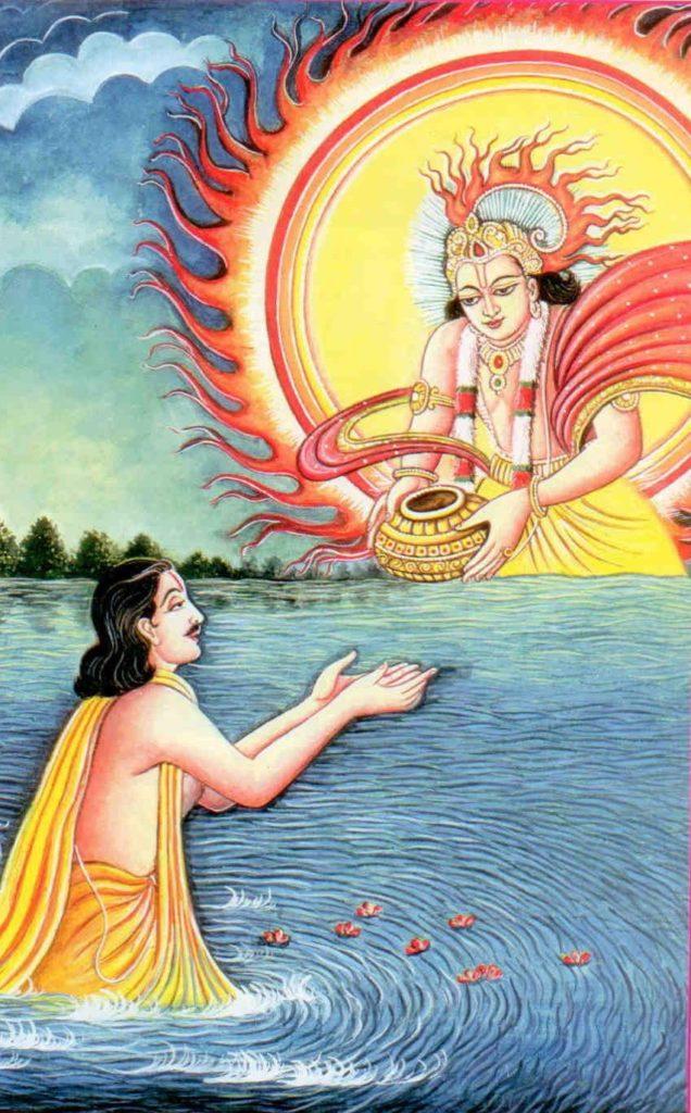 Юдхиштхира получает акшая-патру - волшебный горшочек от Бога Солнца