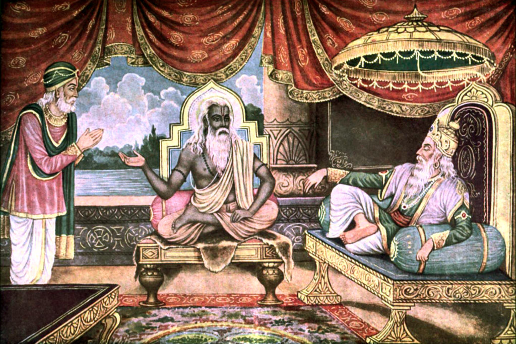 Мудрец Вьясадева наставляет царя Дхритараштру, своего сына